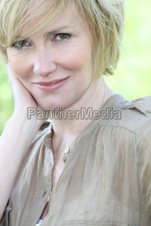 closeup of a smiling woman with