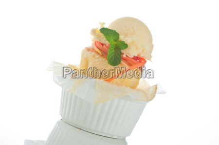 cake with ice cream in a