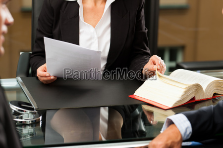 lawyer or notary in her office