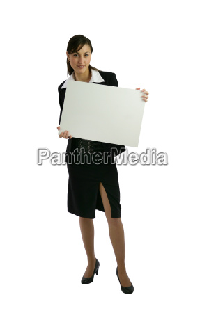 young female worker holding white panel