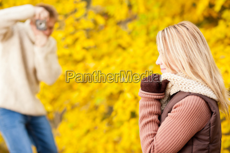 autumn man make photo of young