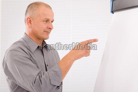 mature businessman pointing at empty flip