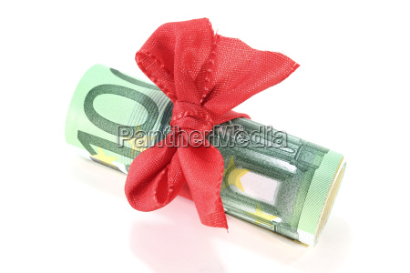 euro bills with ribbon