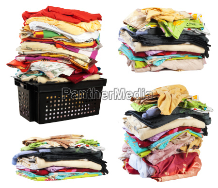 stacks of bed clothes isolated