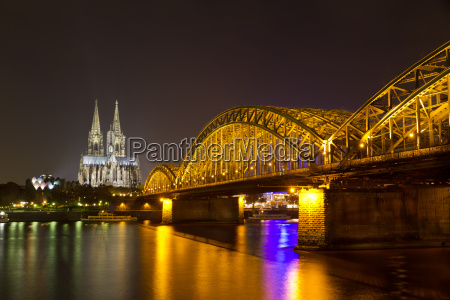 cologne cathedral and hohenzollern bridge at