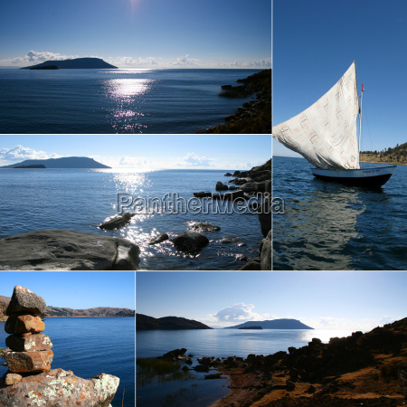 montage of blue sea vacation shots