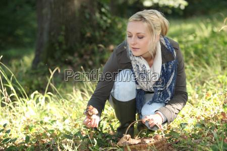 a woman mushroom picking