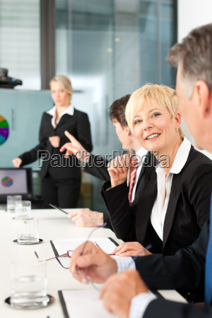 business presentation within a team