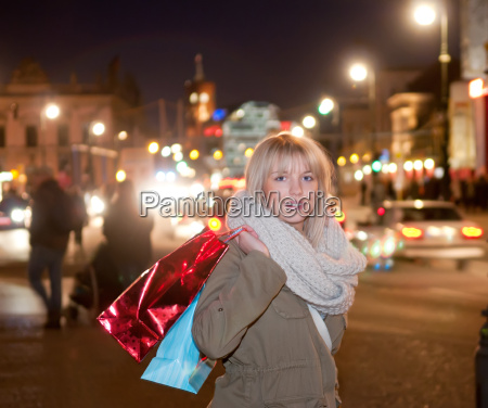 young woman while shopping in the