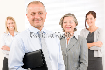 business team happy mature man with