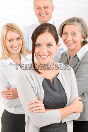 business team young woman with mature