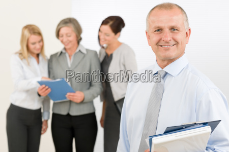 business team senior manager with happy