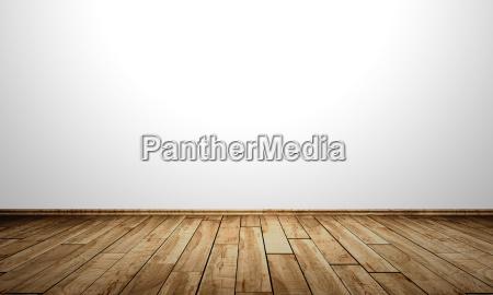 muro bianco con pavimento in legno