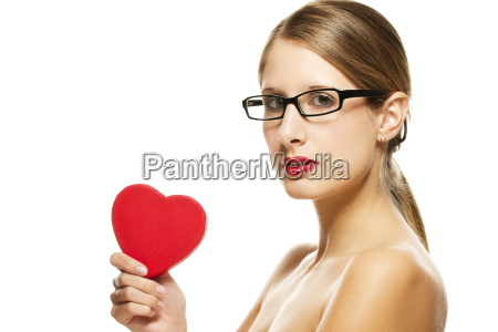 young beautiful woman with red lips