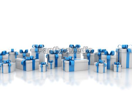 blue ribbon gift boxes