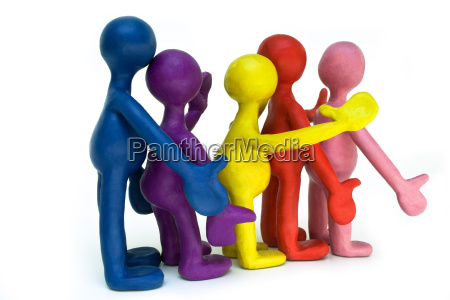 group of plasticine puppets on white