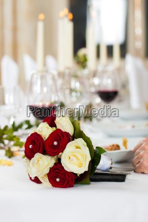 bridal bouquet on a wedding table