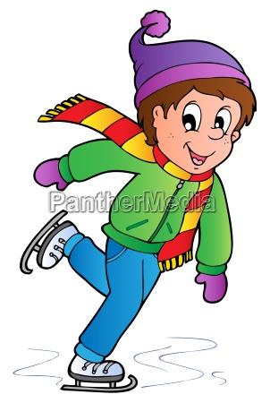 cartoon skating boy