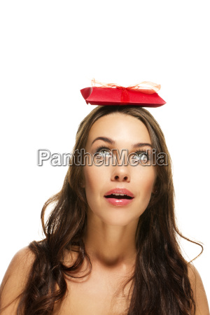 beautiful woman with gift on her