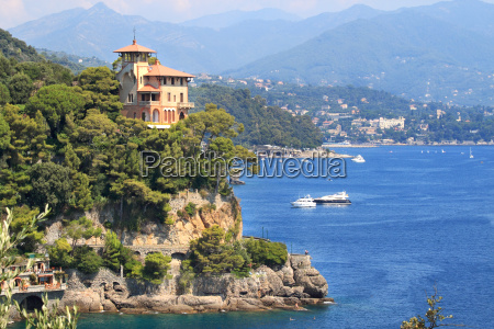 traditional italian house on the cliff