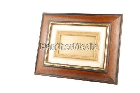 wooden photo frame on white