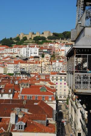 lisbon cityscape with castle and santa