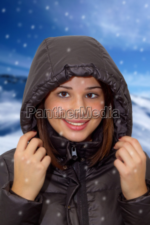 young woman with winter jacket