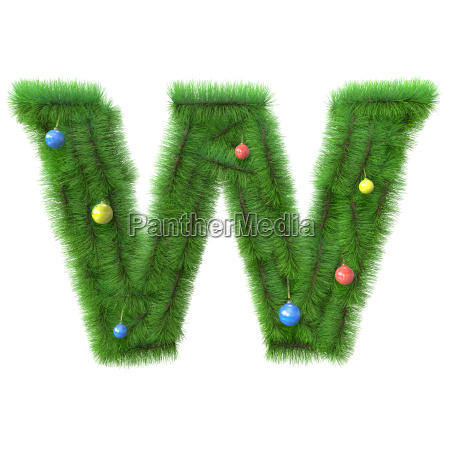 w letter made of christmas tree