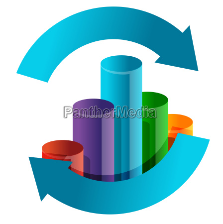 business graph in arrow cycle illustration