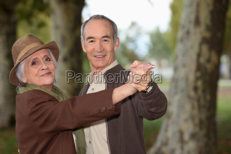senior couple on a romantic walk