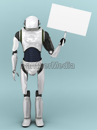 artificial robot holding sign