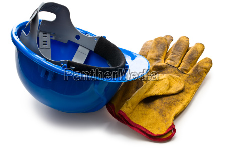blue hardhat and leather working gloves