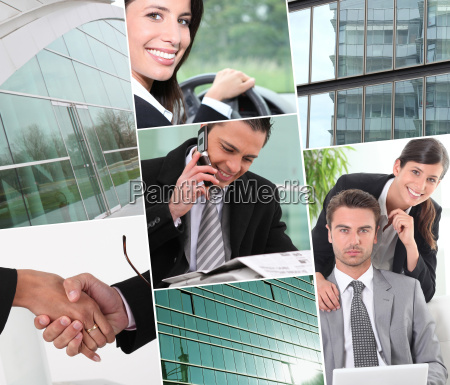 a collage of business professionals at