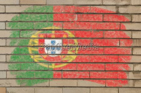 flag of portugal on grunge brick