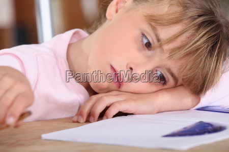tired schoolgirl