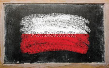 flag of poland on blackboard painted