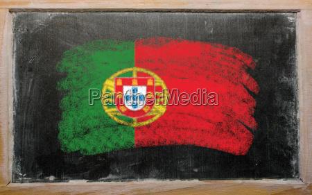 flag of portugal on blackboard painted