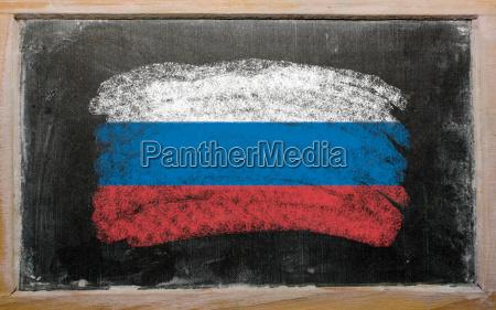 flag of russia on blackboard painted