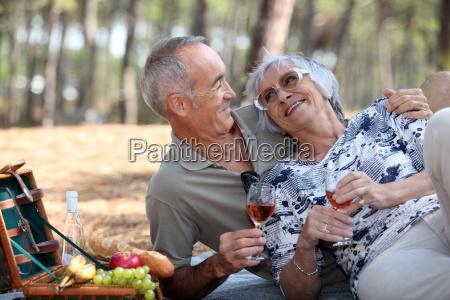 senior couple having a romantic picnic