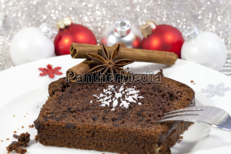 chocolate cake with christmas decorations