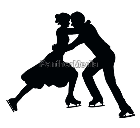 silhouette ice skater couple embrace