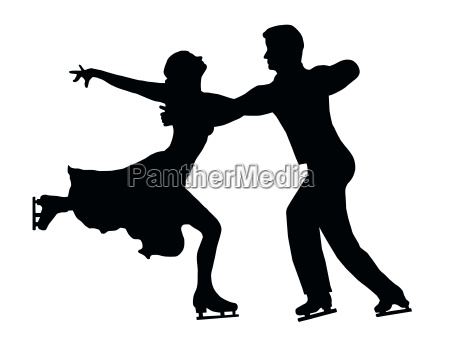 silhouette ice skater couple embrace back
