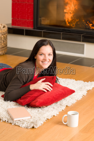 home living happy woman lying by