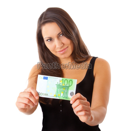 woman with 100 euro note