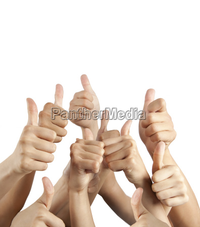 many different hands with thumbs up