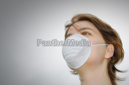 woman with medical mask and copy