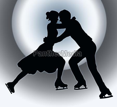 spotlight back silhouette ice skater couple