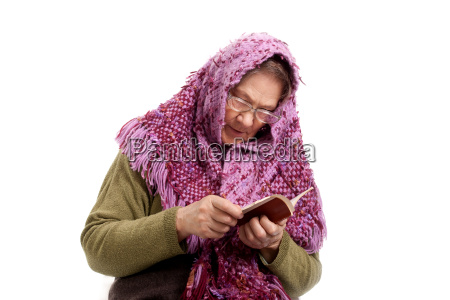 old woman read book