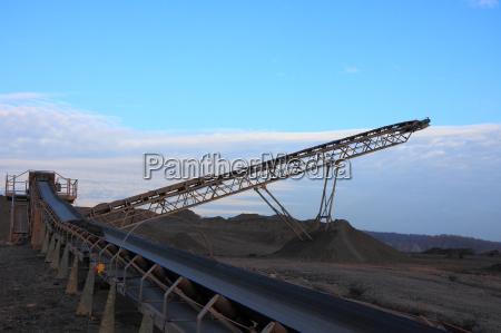 coal conveyor belt in the evening