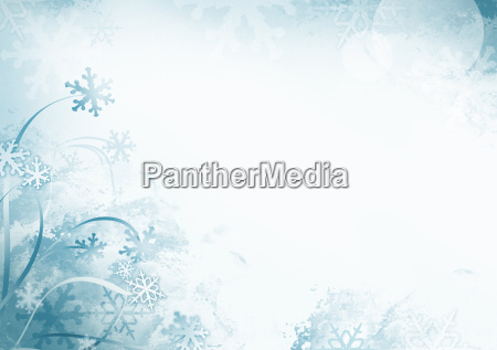 blue winter snowflake background with copy